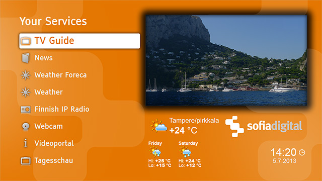 Sofia Digital HbbTV portal template