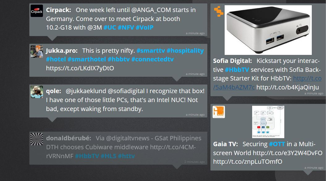Twitter wall with HbbTV